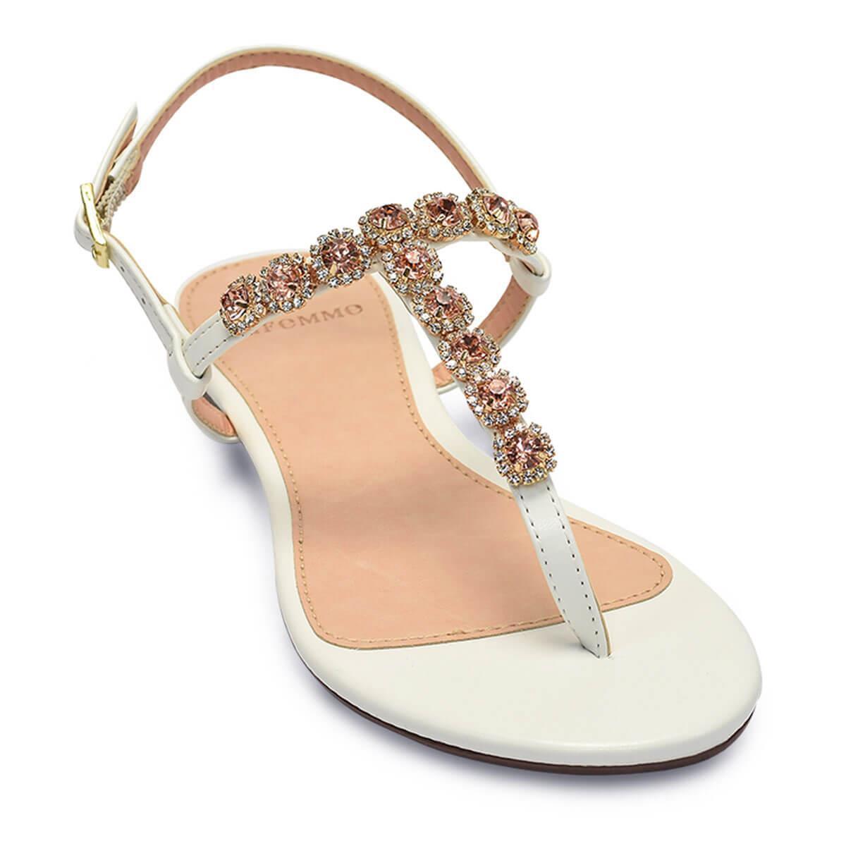 bbdb7a725d Sandália Flat La Femme Mini Pedras Branco