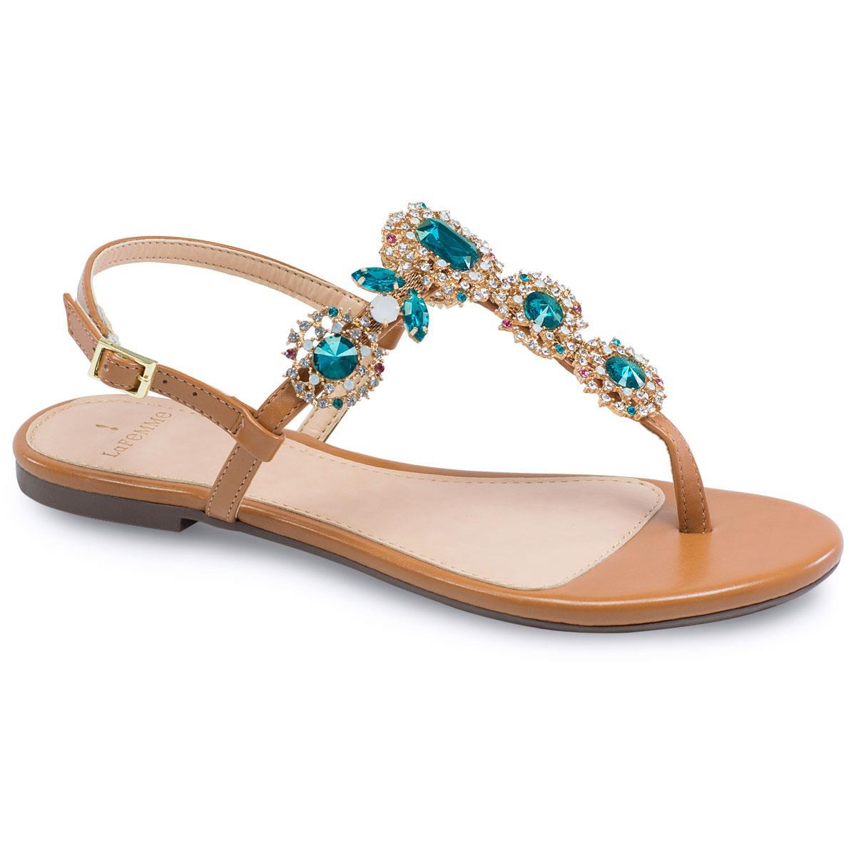 d36e82a03 Sandália Flat La Femme Pedra Azul Caramelo