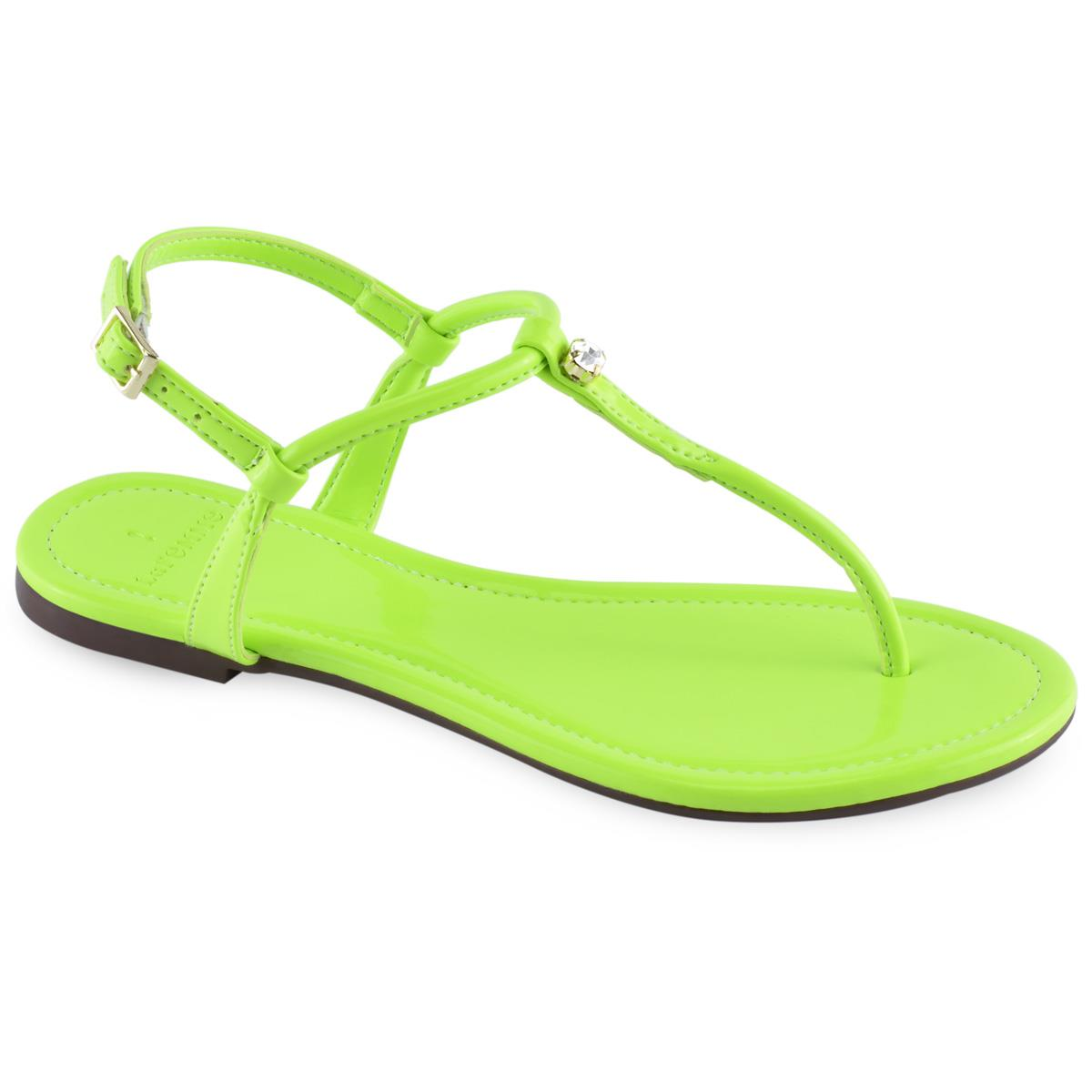 d482fc93be Sandália Flat La Femme Colors Verniz Verde Neon. Ampliar